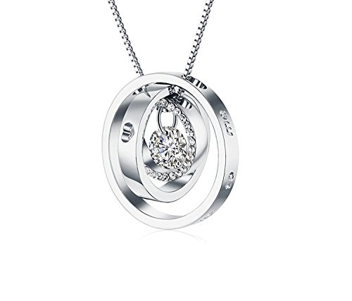 """ROYI Ring Pendant Necklace Christmas Gift for Women Engraved """" Dear"""