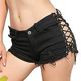 Ximandi Sexy Women's Denim Jeans Low Waist Super Mini Shorts Pants Black