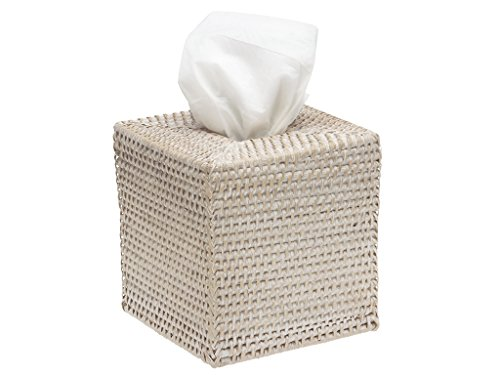 KOUBOO Square Rattan Tissue Box Cover, White Wash