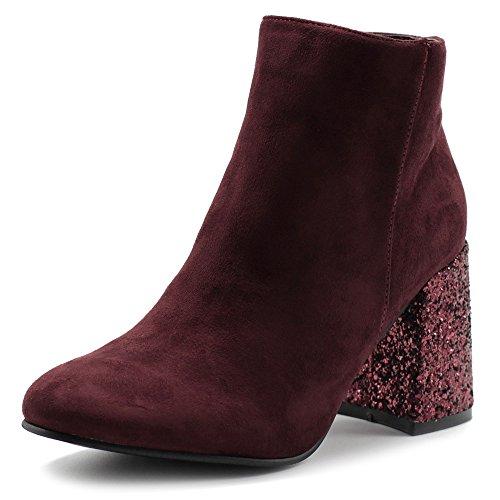 Boots Stack Platform Heel (Ollio Women's Shoe Faux Suede Zipper Up Chunky Glitter Heels Ankle Boots TWB0103(8 B(M) US, Burgundy))