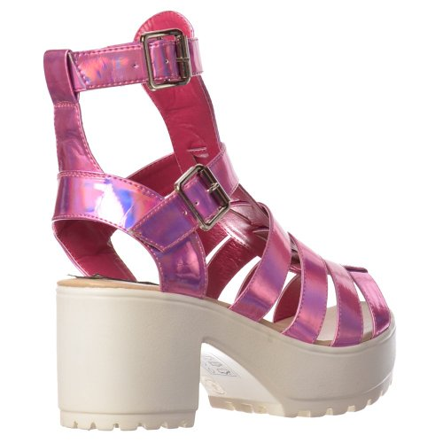 Onlineshoe Women's Ladies Kendal Cut Out High Ankle Strappy Buckles Gladiator Summer Sandals Pink Hologram qUdz2Ex4md