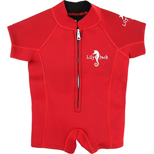 Unisex Baby Neoprene 3mm Wetsuit UV Protected Swimwear for Toddlers (Red XS)