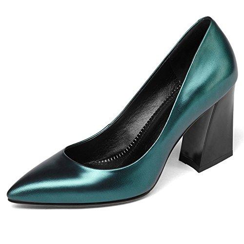 Neuf Sept Femmes En Cuir Véritable Bout Pointu Chunky Talon De Base Classique À La Main Élégant Pompes Chaussures Cyan