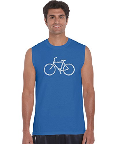 Los Angeles Pop Art Men's Sleeveless Word Art T-shirt - Save A Planet, Ride A Bike- LA Pop - Blue Los Angeles Planet