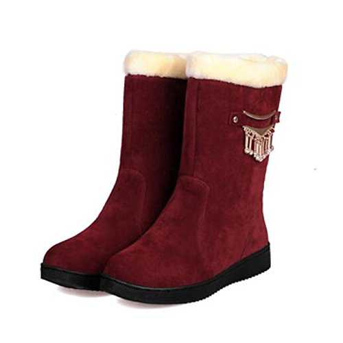 Mid Toe PU Camel HSXZ Women's Comfort Round Casual Boots Boots Red Winter ZHZNVX Black Shoes for Flat Red Calf Fall aPftwaxv