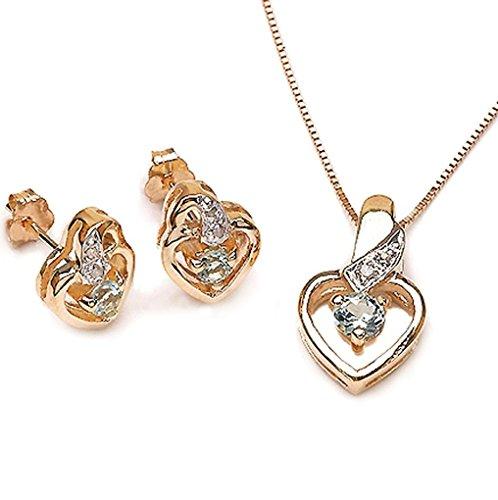 Bijoux Schmidt-Pendentif topaze Diamond / bleu, collier, boucles d'oreilles, argent doré 0, 58 carats