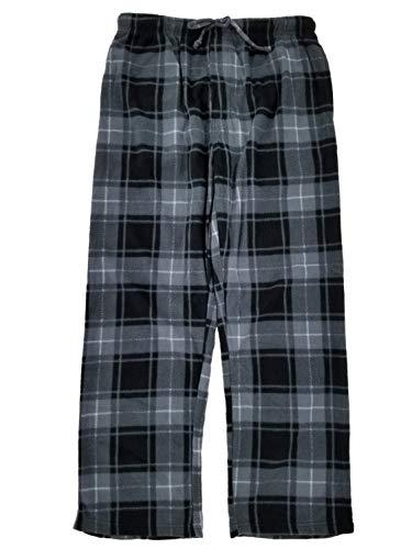 (Joe Boxer Mens Gray & Black Plaid Fleece Sleep Pants Lounge Pants Pajama Bottoms Large)