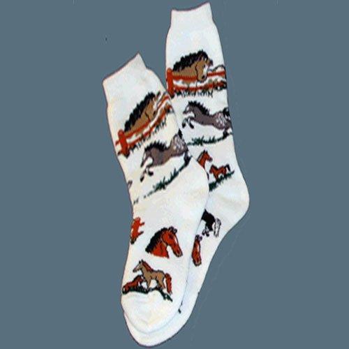 Horse Ladies Lover Socks 9-11 White