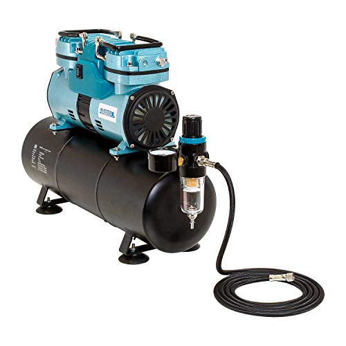 (Professional Cool Running Master Airbrush 1/4 hp Twin Cylinder Piston Air Compressor with Extra Large Storage Tank - Model TC-96T High Airflow Performance 40 Ltrs/Minute - Hose, Regulator Water Trap)