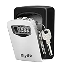 Diyife Key Lock Box, [Upgraded Version][Wall Mounted] Combination Key Safe Storage Lock Box with Strong 4 Digit Lock for Home Garage School Spare House Keys and Car Keys