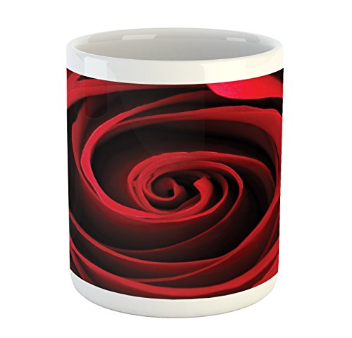 Lunarable Rose Mug, Rose Sweetheart Valentine Sensual Romantic Fragrant Love Symbol Close Up Macro Picture, Printed Ceramic Coffee Mug Water Tea Drinks Cup, Red Black - Sweetheart Rose Cup