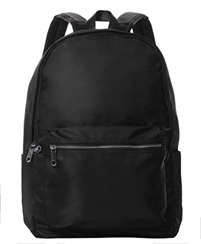 Nylon Box Saddlebag (Veenajo Unisex Lighweight Backpack Water Resistant School Rucksack Travel Casual Daypack (Black))