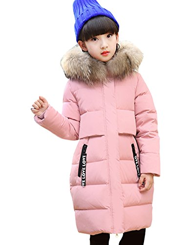 CUKKE Girl's Down Fur Hooded Jacket Winter Warm Outwear Winter Coat (140,Pink) by CUKKE
