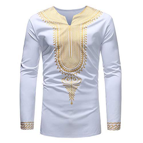 BYWX Men Stand Collar Longline African Print Dashiki Plus Size Long Sleeve Shirt Blouse