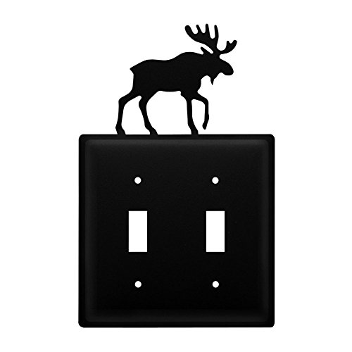 Moose Switch Plates (Iron Moose Double Switch Cover - Heavy Duty Metal Light Switch Cover, Electrical Outlet Covers, Lightswitch Covers, Wall Plate Cover)