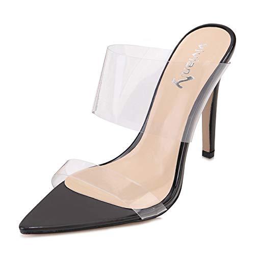 Pointy Toe Stiletto Heel - vivianly Sexy Clear High Heels Transparent Strap Mules Pointed Toe Stilettos Slip on Dress Heel Sandals for Women Black