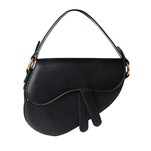 (Olyphy Designer Saddle Shoulder Bag for Women,Fashion Small Top Handle Handbag Crossbody Handbag Purse (black))
