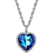 Neoglory Jewelry Fashion Made with Swarovski Elements Crystal Charm Heart Pendant Necklace 21.26 inches