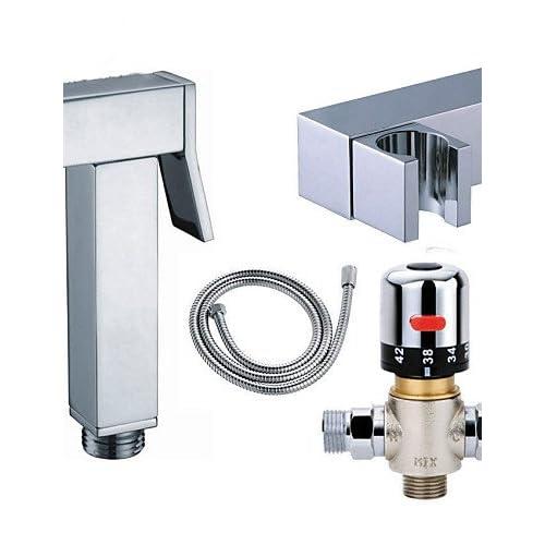 Bathroom Thermostatic Mixer Valve Bidet Spray Water Mixing: Good SAEKJJ-Thermostatic Mixer Valve Handheld Square Brass