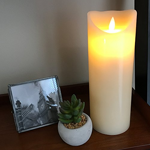 Gideon 9 Inch Flameless LED Candle - Real Wax & Real Flickering Candle Motion - with Multi-Function Remote (On/Off, Timer, Dimmer) - Vanilla Scented, Ivory by Gideon (Image #6)