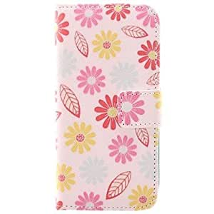 JJE Flower and Leaf Design PU Protective Case with Card Slot for iPhone 5/5S