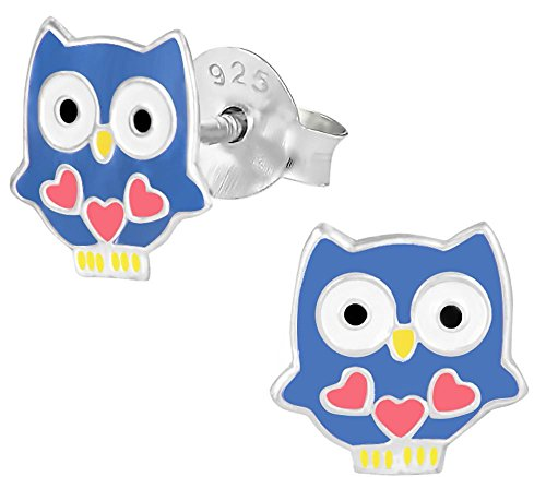 Hypoallergenic Sterling Silver Blue Owl with Hearts Stud Earrings for Kids (Nickel Free)