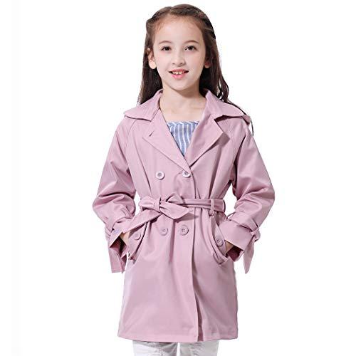 HOLIEBEE Girls Lapel Double Breasted Waterproof Trench Coat Lightweight Hooded Rain Jacket Pink