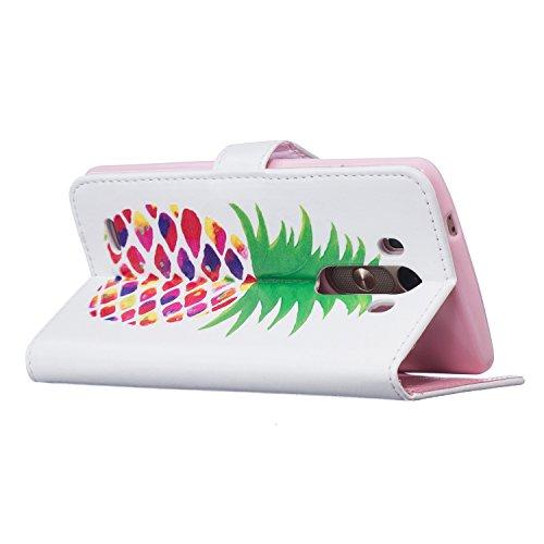 jawseu funda de piel blanca para LG G3, pluma funda de piel tipo libro para LG G3, elegante colorido patrón impresión retro Slim piel sintética carcasa con tapa magnético función atril tipo libro bols piña