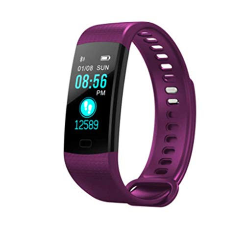 LJXAN Fitness Activity Tracker Color Screen Smart Bracelet Heart Rate Blood Pressure Blood Oxygen Health Monitoring Bluetooth Sports Step Stopwatch Gifts,Purple by LJXAN