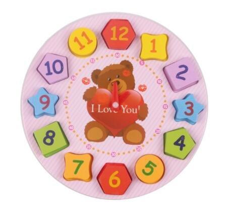 Best Quality - Blocks - Wooden Blocks Toys Digital Geometry Clock Toy Figure Blocks Children's Educational Toy for Children Baby Boys - by Viet SF - 1 Pcs - Burl - Wood Burl Clock