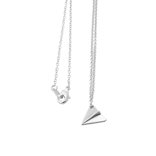 New Silver Alloy Aeroplane Pendant Charm With Free Chain