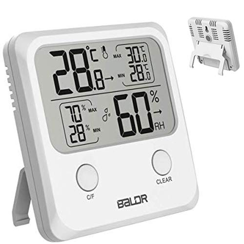(Indoor Thermometer Hygrometer with High Low Trends, Temperature Gauge and Humidity Meter Big Digits Sensor for Office, Kitchen, Humidifier, Dehumidifier, Air Conditioner Room, Greenhouse, Baby Nursery)