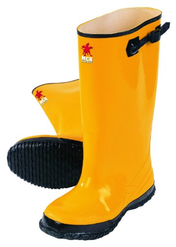 MCR Safety BYR10018 Waterproof Rubber Slush Boot with Cleated Outsole, Yellow, Size 18, 1-Pair -