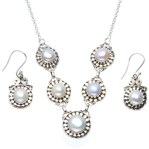 """Natural River Pearl Handmade Unique 925 Sterling Silver Jewelry Set Necklace 18"""" Earrings 1.5"""" A3431"""