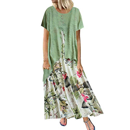 - Opinionated Women Cotton Linen Floral Maxi Dress Casual Loose Plus Size Vintage Patchwork Button Home Beach Dress Green