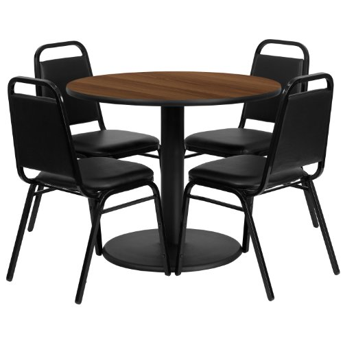 (MFO 36'' Round Walnut Laminate Table Set with 4 Black Trapezoidal Back Banquet Chairs)