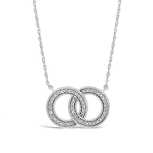 Brilliant Expressions .925 Sterling Silver 1/5 Cttw Interlocked Circle Conflict Free Diamond Pendant Necklace (I-J Color, I2-I3 Clarity), 16-18 inch