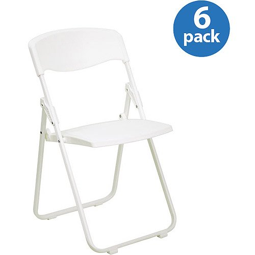 Premium White Plastic Folding Chair, Set of 6 by Generic