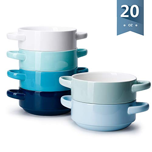 Sweese 108.003 Porcelain Bowls with Handles - 20 Ounce for Soup, Cereal, Stew, Chill, Set of 6, Cool Assorted Colors (20 Soup Mugs Oz With Handle)