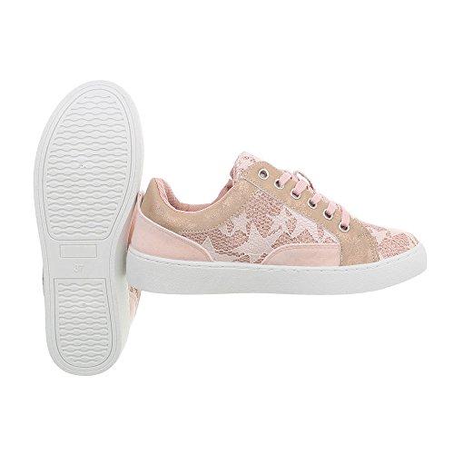 Donna Scarpe Ital Sneaker 88016 Piatto Low rosa Design Sneakers da qBqxT4