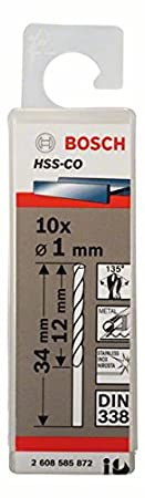 Bosch 2 608 585 873 - Brocas metá licas HSS-Co, DIN 338-1,5 x 18 x 40 mm (pack de 10) 2608585873