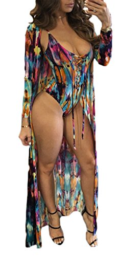 Lovaru Women's New Colorful Dyeing Bikini One Piece Swimsuit+Ponchos Cover Ups (X-Large, Rose)