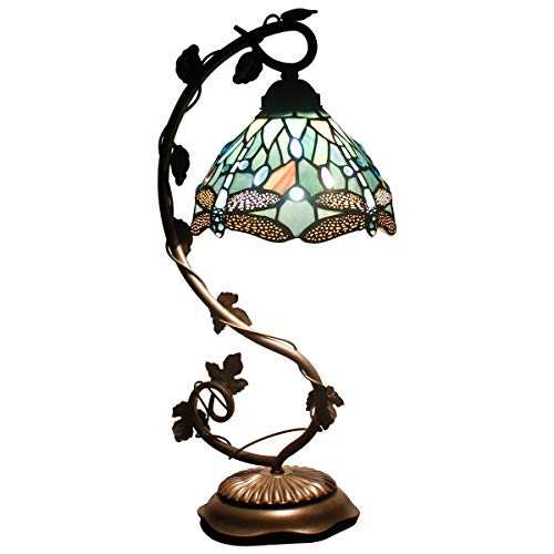 (Tiffany Lamps Stained Glass Table Desk Reading Lamp Crystal Bead Sea Blue Dragonfly Style Shade W8H22 Inch for Living Room Bedroom Bookcase Dresser Coffee Table S147 WERFACTORY)