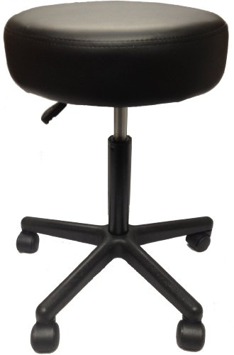 Adjustable Rolling Pneumatic Stool for Massage Tables, Examination Tables, and Physician's Office by Therabuilt® (Black) (Physician Stool Adjustable)