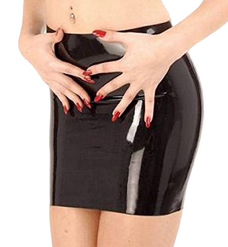 VsvoLatex Women's Black Latex Rubber Fetish Skirt (Small, Black) Fetish Skirt