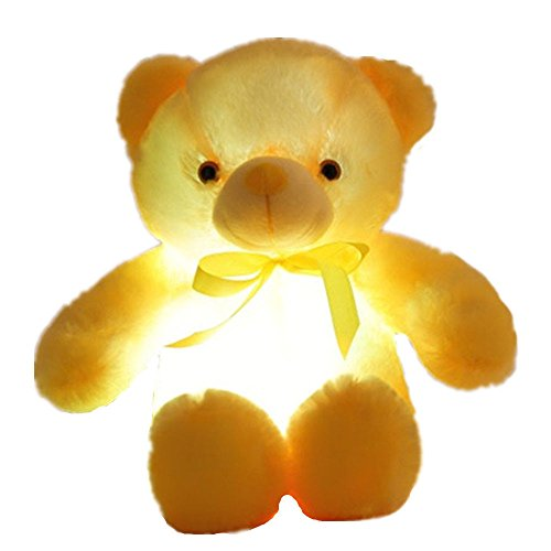 Creative Light Up LED Inductive Teddy Bear Stuffed Animals Plush Toy Colorful Glowing Teddy Bear, 20- Inch(Yellow)