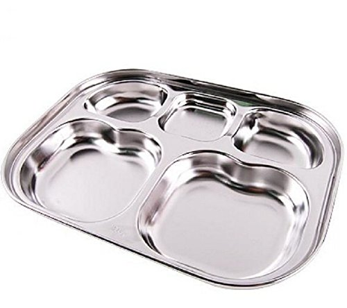 Diet Plate, Stainless Steel Divided Portion Plate Diet Food Control Tray by Dinner Plate