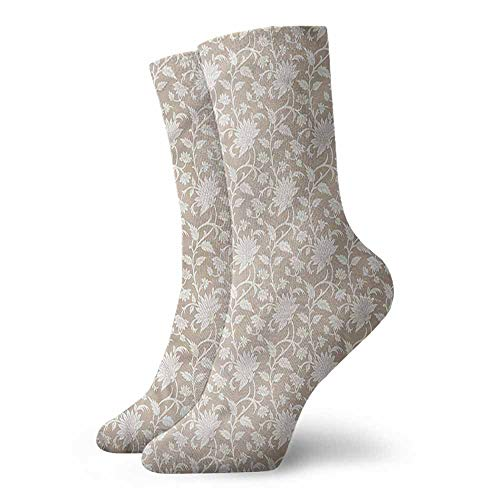 1 Pair Women Short Socks Floral,Abstract Pattern Leaves 3.4