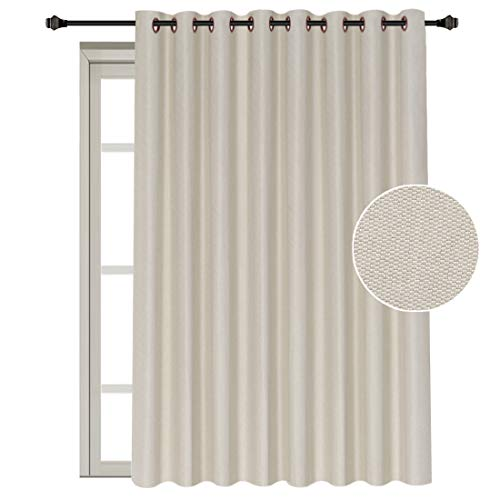 Sliding Panel Top (H.VERSAILTEX Thermal Insulated Solid Color Wide Patio Door Curtains Textured Rich Linen Energy Smart Ring Top Sliding Door Panel for Large Window, 100W x 96L Inch - Ivory)