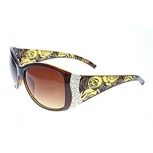 Vox Women's Polarized Sunglasses Designer Fashion Rhinestone Vintage Floral Eyewear – Amber Frame – Amber Lens